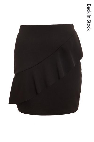 Black Crepe Frill Front Skirt